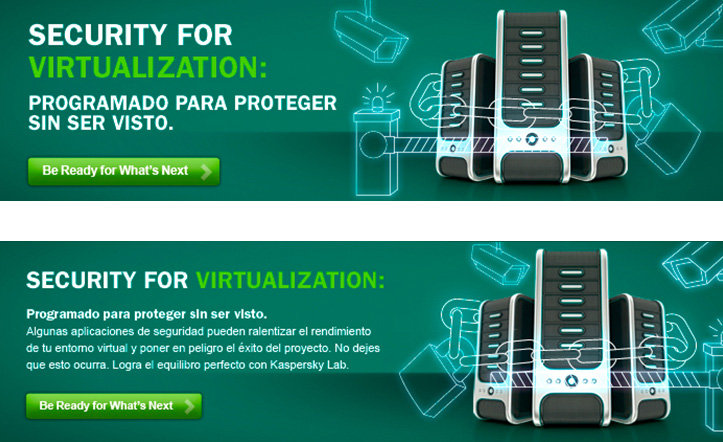 "Kaspersky Security for Virtualization: Campaña de Display Ad Banner ""Programado para Proteger sin ser Visto"""