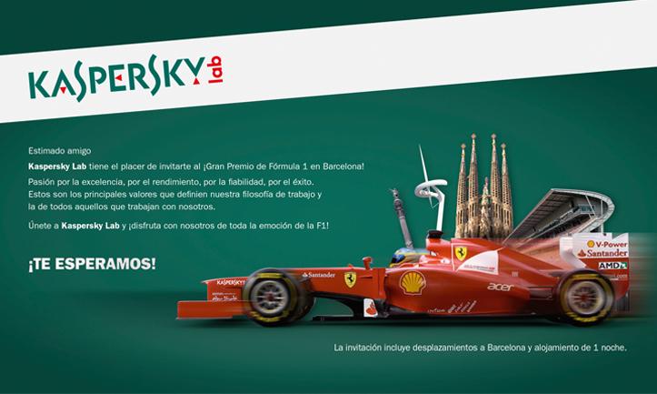 Kaspersky Lab España: Invitación Campeonato F1 Barcelona (Eventos)