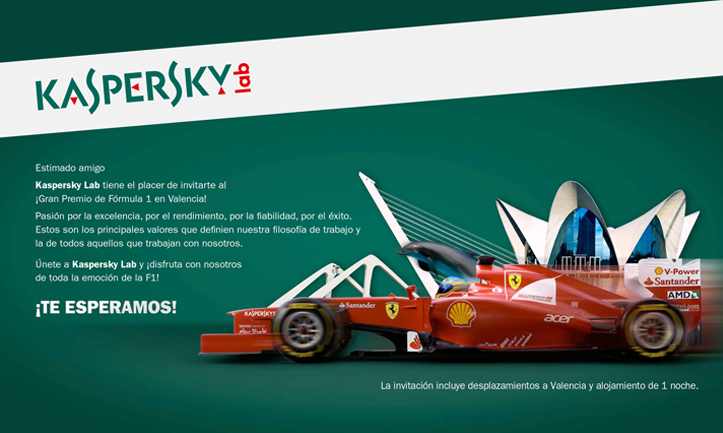 Kaspersky Lab España: Invitación Campeonato F1 Valencia