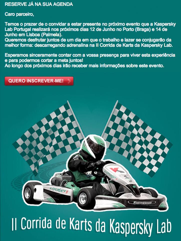 Kaspersky Lab Portugal: Invitación Carrera de Karts